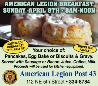 Pancakes, Egg Bake or Biscuits & Gravy