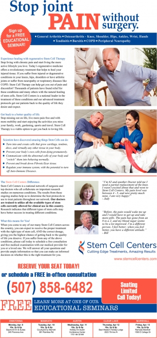 Free Educational Seminar, Stem Cell Centers, Edina, MN