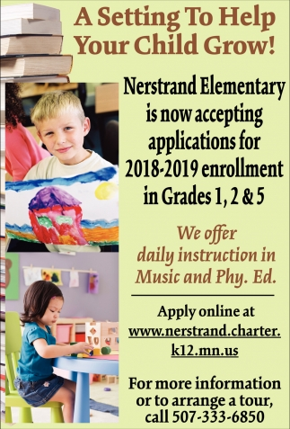 Nerstrand Elementary is now accepting applications for 2018-2019 enrollment, Nerstrand Elementary, Nerstrand, MN