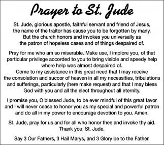 Prayer To St Jude Thank You Northfield News