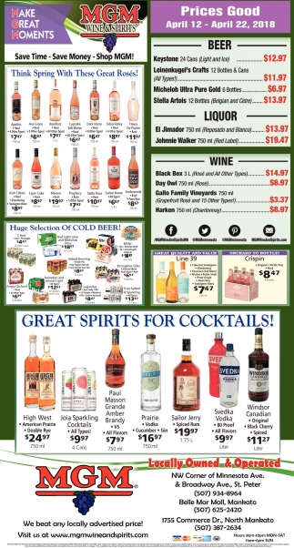 Great spirits for cocktails!