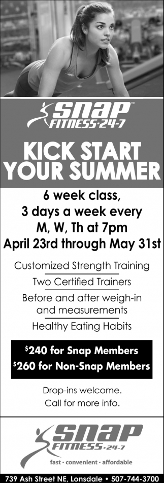 Kick start your summer, Snap Fitness 24-7 - Lonsdale