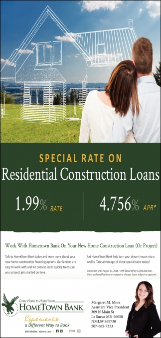 residential construction loans hometown bank st peter mn