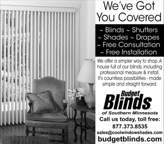 Blinds, Shutters, Shades, Drapes, Budget Blinds, Owatonna, MN
