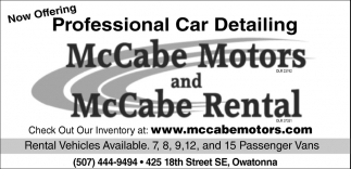 Professional Car Detailing, McCabe Motors and McCabe Rental, Owatonna, MN