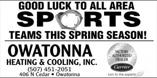 Good luck to all area sports teams, Owatonna Heating & Cooling, Owatonna, MN