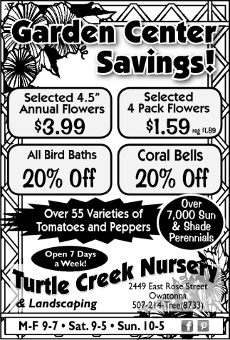 Garden Center Savings!