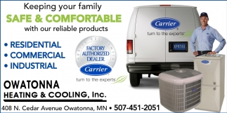 Carrier Factory Authorized Dealer, Owatonna Heating & Cooling, Owatonna, MN