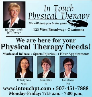 We are here for yout Physical Therapy Needs!