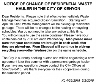 Notice of Change of Residential Waste Hauler