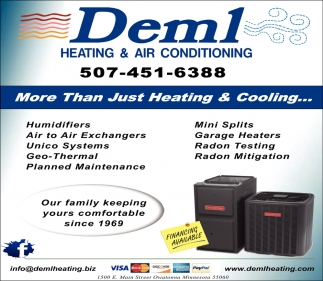 Residential Heating, Cooling and Indoor Air Quality, Deml Heating & Air Conditioning, Owatonna, MN