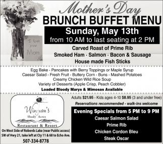 Mother's Day Brunch Buffet Menu