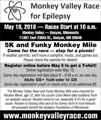 5k and Funky Monkey Mile, Monkey Valley Race for Epilepsy, Kenyon, MN