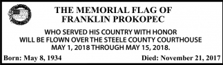 Memorial Flag of Franklin Prokopec