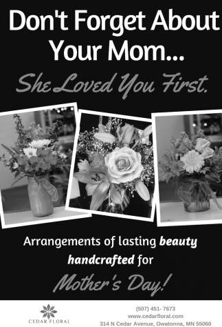 Arrangements of lasting beauty handcrafted for Mother's Day, Cedar Floral, Owatonna, MN