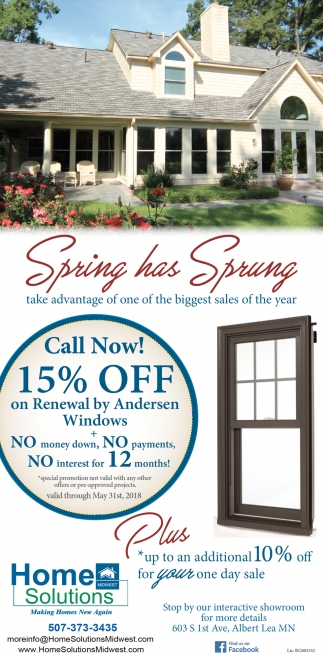 15% off, Home Solutions Midwest, Albert Lea, MN