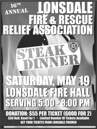 16th Annual Steak Dinner, Lonsdale Fire & Rescue Department, Lonsdale, MN