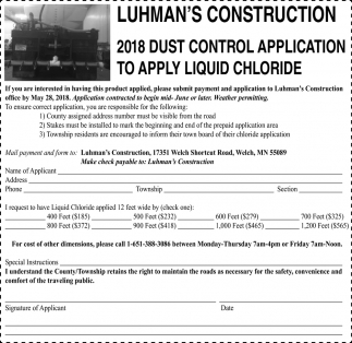 2018 Dust control application to apply liquid chloride, Luhman's Construction, Welch, MN