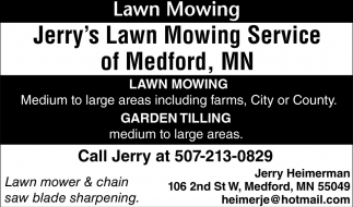 Lawn mower & chain saw blade sharpening, Jerry's Lawn Mowing Service of Medford