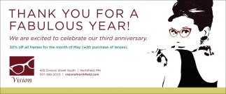 30% off all frames for the month of may