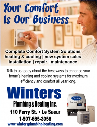 Complete Comfort System Solutions, Winters Plumbing & Heating Inc, Le Sueur, MN