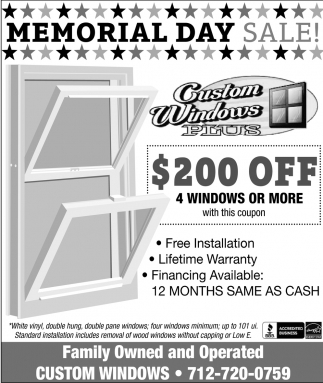 Memorial Day Sale, Custom Windows Plus, Gillett, WI