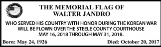 Memorial Flag of Walter Jandro