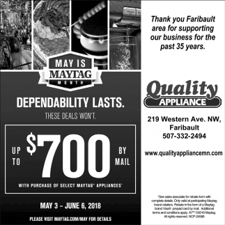 May is Maytag Month, Quality Appliance, Northfield, MN