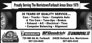 Proudly Serving The Morristown/Faribault Areas Since 1979