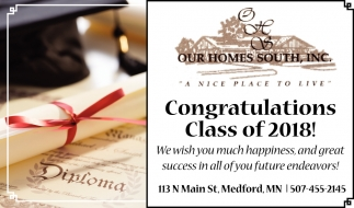 Congratulations Class of 2018, Our Homes South, Medford, MN