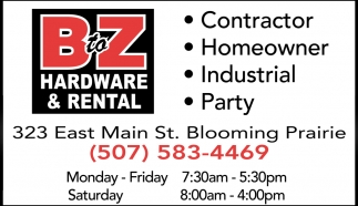 Contractor, Homeowner, Industrial, Party, B to Z Hardware, Blooming Prairie, MN