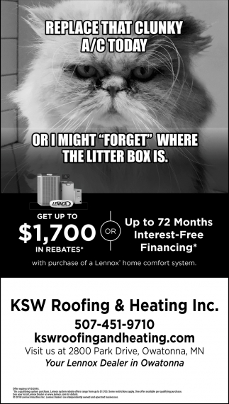 Heating & Cooling, Sales, Installation, Rapair, Maintenance, KSW Roofing & Heating, Owatonna, MN