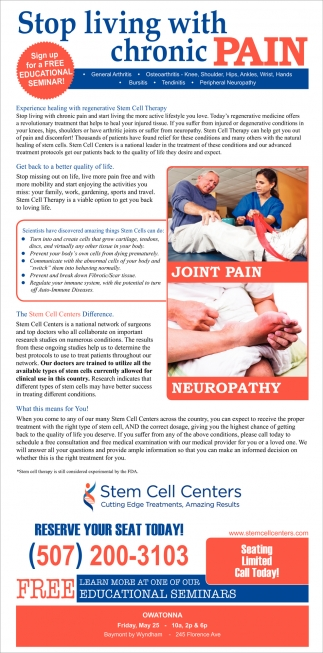 Stop living with chronic pain, Stem Cell Centers, Edina, MN