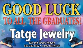 Good luck to all the graduates!, Tatge Jewelry, Kenyon, MN