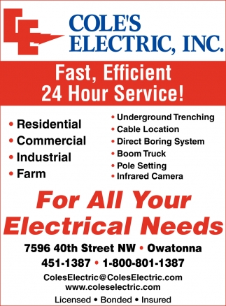 For All Your Electrical Needs, Cole's Electric, Inc, Owatonna, MN