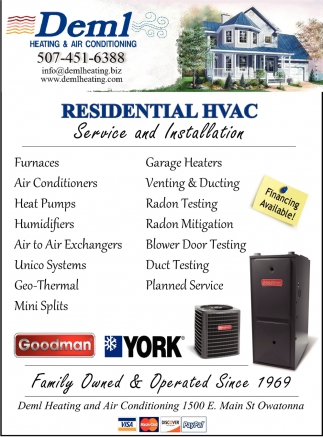 Residential HVAC Service and Installation, Deml Heating & Air Conditioning, Owatonna, MN