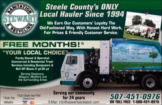 Steele County's Only Local Hauler Since 1994, Stewart Sanitation, Owatonna, MN