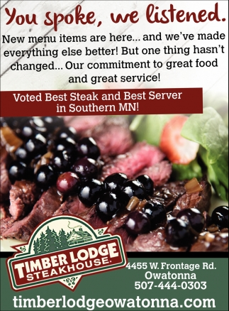 Voted Best Steak and Best Server in Southern MN!
