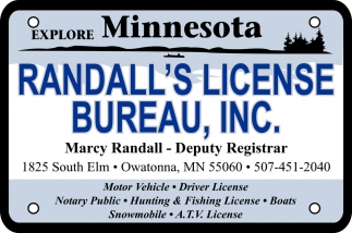 Motor Vehicle, Driver License, Notary Public, Hunting & Fishing License, Randall's License Bureau Inc, Owatonna, MN