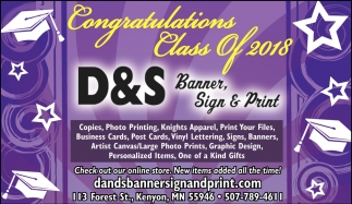 Congratulations Class of 2018, D&S Banner Sign & Print, Kenyon, MN