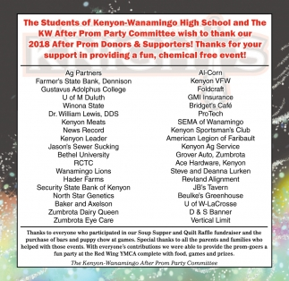 Thank our 2018 donors & supporters, Kenyon-Wanamingo After Prom ...