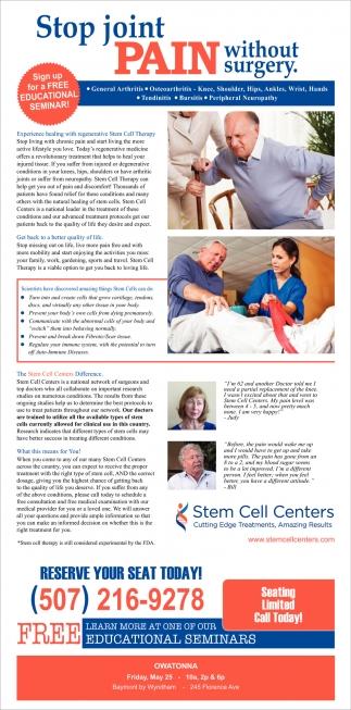 FREE educational seminar, Stem Cell Centers, Edina, MN
