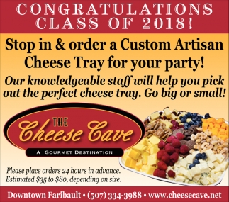Congratulations Class of 2018, The Cheese Cave, Faribault, MN