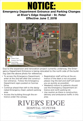 Emergency Department Entrance and Parking Changes at River's Edge Hospital