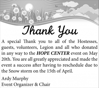 Thank You, Hope Center , Faribault, MN