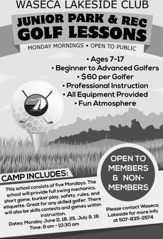 Junior Park & Rec Golf Lessons