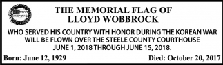 Memorial Flag of Lloyd Wobbrock