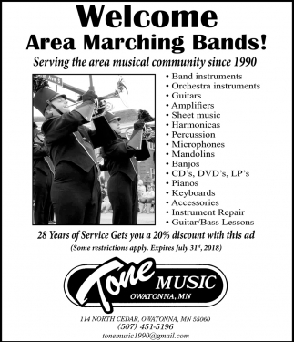 Welcome Area Marching Bands!, Tone Music, Owatonna, MN