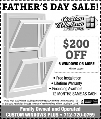 Father's Day Sale, Custom Windows Plus, Gillett, WI