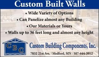 Custom Built Walls, Custom Building Components